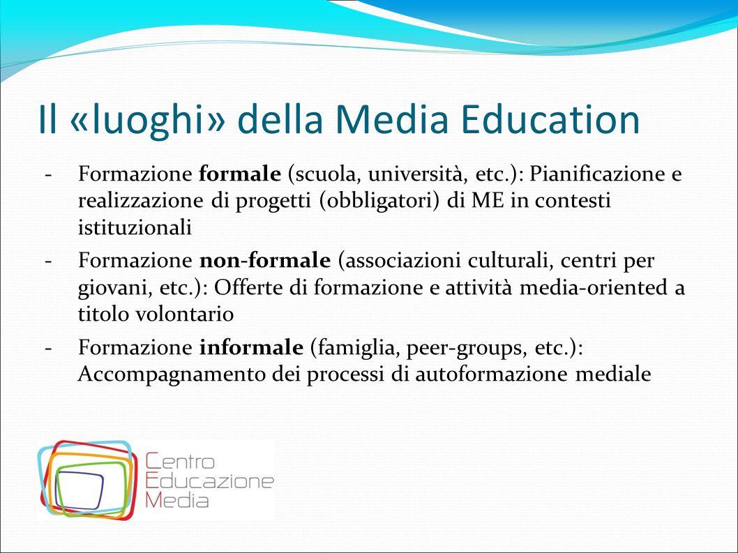 Il «luoghi» della Media Education -Formazione formale (scuola, università, etc.): Pianificazione e realizzazione di progetti (obbligatori) di ME in co