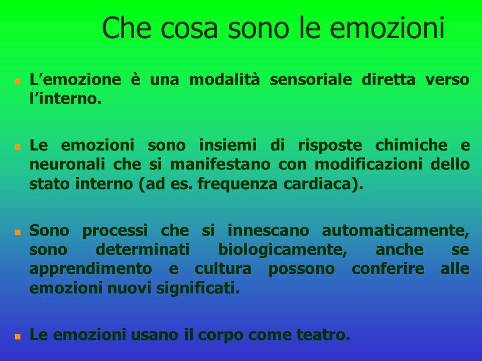 Che cosa sono le emozioni L'emozione è una modalità sensoriale diretta verso l'interno. Le emozioni sono insiemi di risposte chimiche e neuronali che