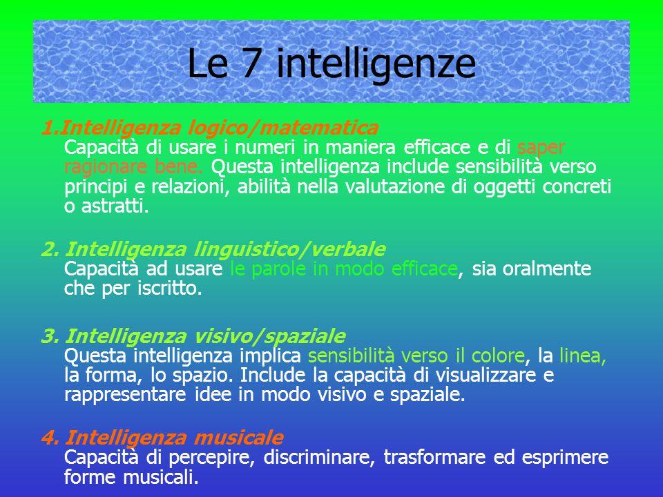 Le 7 intelligenze 1.Intelligenza logico/matematica Capacità di usare i numeri in maniera efficace e di saper ragionare bene. Questa intelligenza inclu