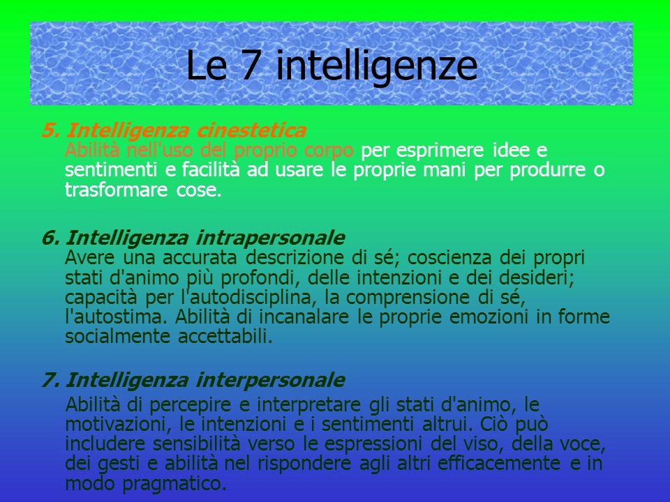 Le 7 intelligenze 5. Intelligenza cinestetica Abilità nell'uso del proprio corpo per esprimere idee e sentimenti e facilità ad usare le proprie mani p
