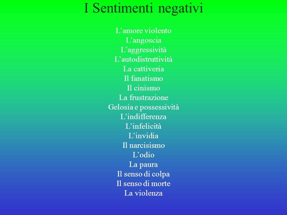 I Sentimenti negativi L'amore violento L'angoscia L'aggressività L'autodistruttività La cattiveria Il fanatismo Il cinismo La frustrazione Gelosia e possessività L'indifferenza L'infelicità L'invidia Il narcisismo L'odio La paura Il senso di colpa Il senso di morte La violenza
