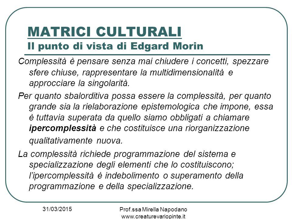 31/03/2015 Prof.ssa Mirella Napodano www.creaturevariopinte.it MATRICI CULTURALI Il punto di vista di Edgard Morin Complessità è pensare senza mai chi