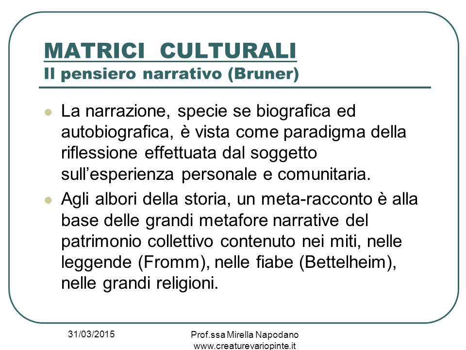 31/03/2015 Prof.ssa Mirella Napodano www.creaturevariopinte.it MATRICI CULTURALI Il pensiero narrativo (Bruner) La narrazione, specie se biografica ed