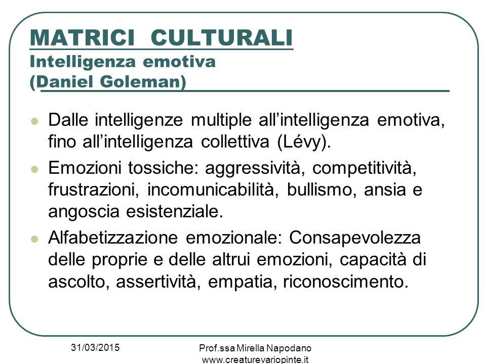 31/03/2015 Prof.ssa Mirella Napodano www.creaturevariopinte.it MATRICI CULTURALI Intelligenza emotiva (Daniel Goleman) Dalle intelligenze multiple all