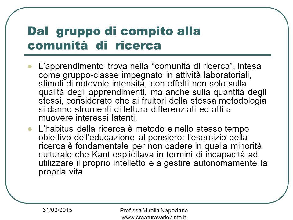 """31/03/2015 Prof.ssa Mirella Napodano www.creaturevariopinte.it Dal gruppo di compito alla comunità di ricerca L'apprendimento trova nella """"comunità di"""