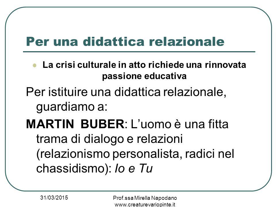 31/03/2015 Prof.ssa Mirella Napodano www.creaturevariopinte.it Per una didattica relazionale La crisi culturale in atto richiede una rinnovata passion