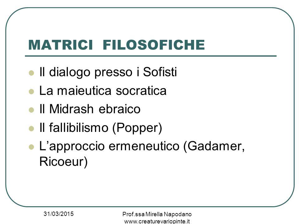 31/03/2015 Prof.ssa Mirella Napodano www.creaturevariopinte.it MATRICI FILOSOFICHE Il dialogo presso i Sofisti La maieutica socratica Il Midrash ebrai