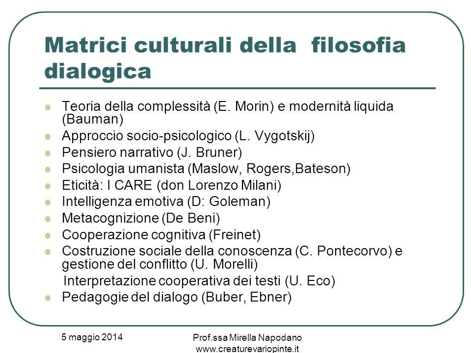 5 maggio 2014 Prof.ssa Mirella Napodano www.creaturevariopinte.it Matrici culturali della filosofia dialogica Teoria della complessità (E. Morin) e mo