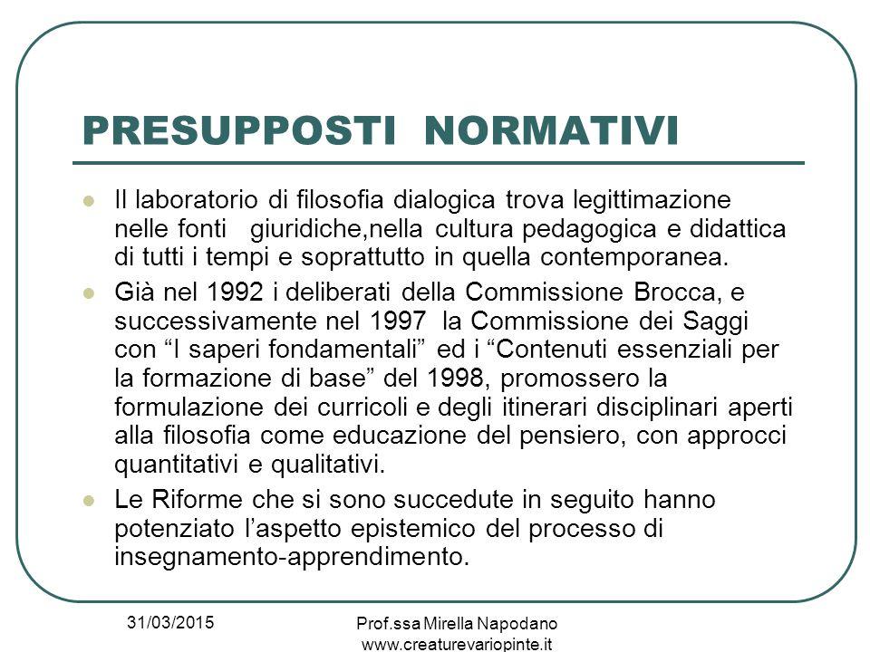 31/03/2015 Prof.ssa Mirella Napodano www.creaturevariopinte.it PRESUPPOSTI NORMATIVI Il laboratorio di filosofia dialogica trova legittimazione nelle