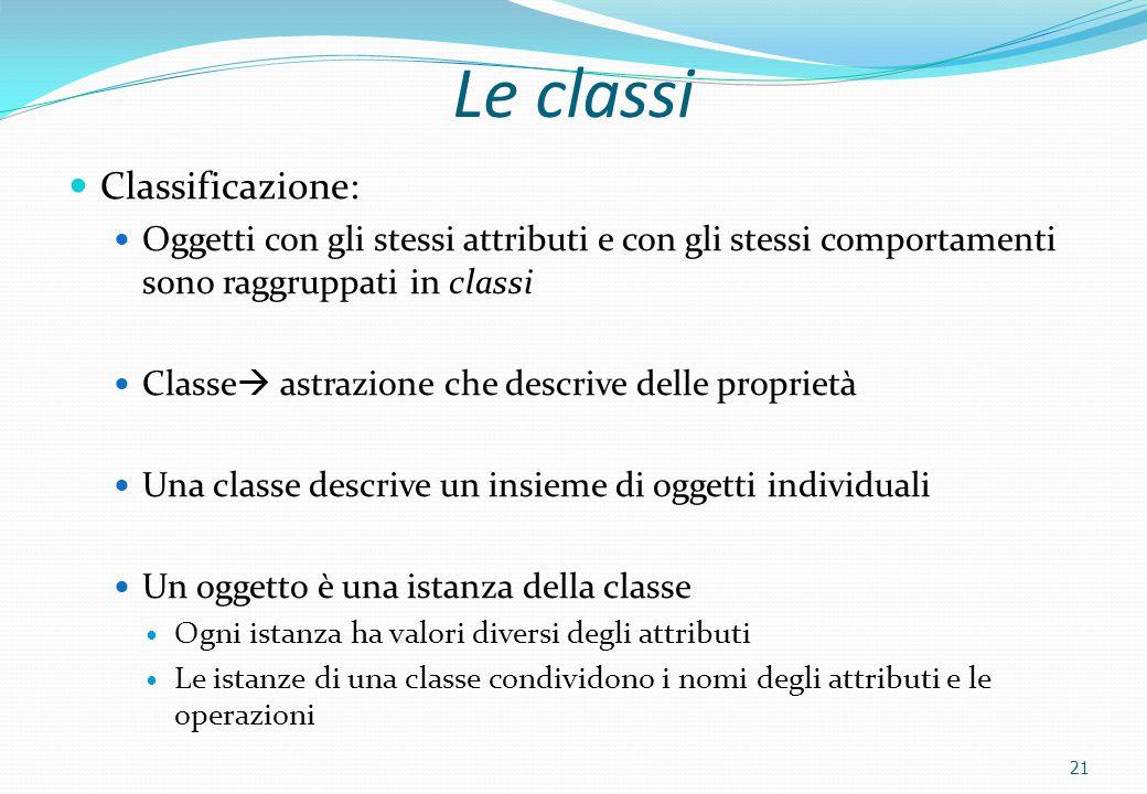 21 Le classi Classificazione: Oggetti con gli stessi attributi e con gli stessi comportamenti sono raggruppati in classi Classe  astrazione che descr