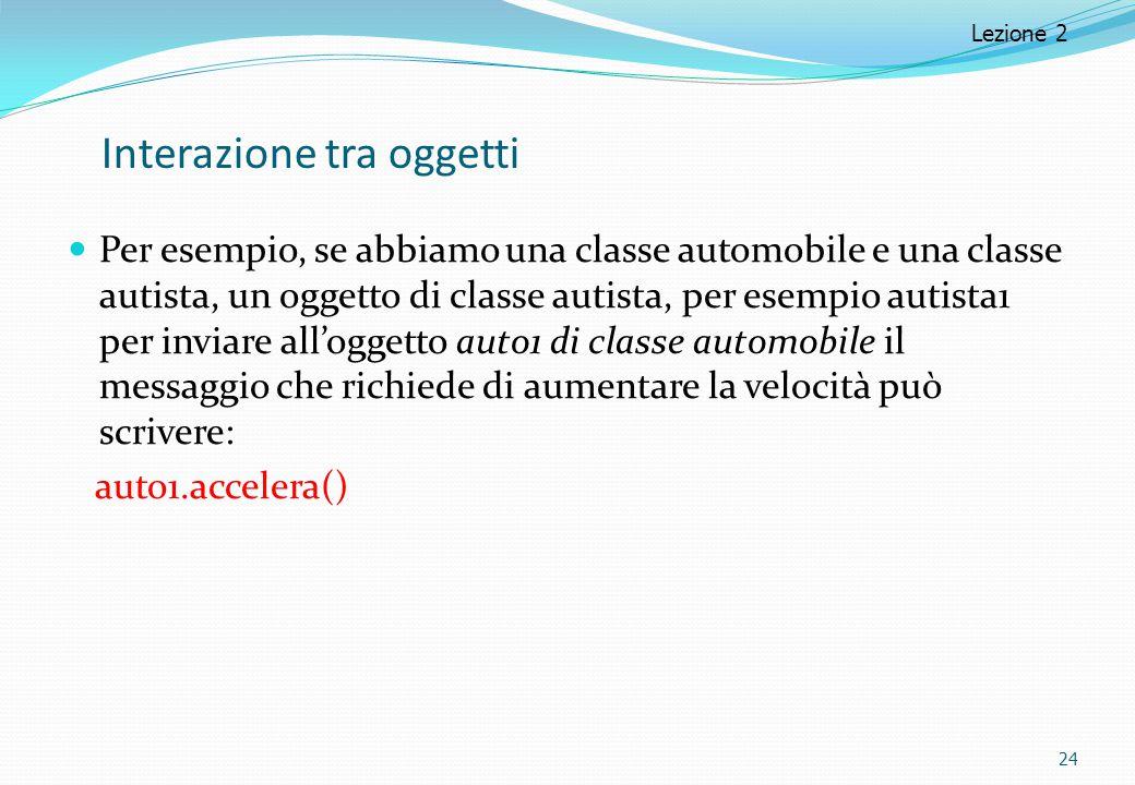 Interazione tra oggetti Per esempio, se abbiamo una classe automobile e una classe autista, un oggetto di classe autista, per esempio autista1 per inviare all'oggetto auto1 di classe automobile il messaggio che richiede di aumentare la velocità può scrivere: auto1.accelera() 24 Lezione 2