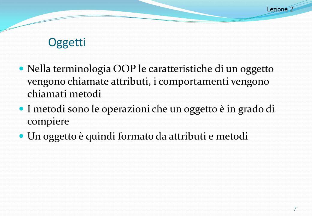 Oggetti Nella terminologia OOP le caratteristiche di un oggetto vengono chiamate attributi, i comportamenti vengono chiamati metodi I metodi sono le o