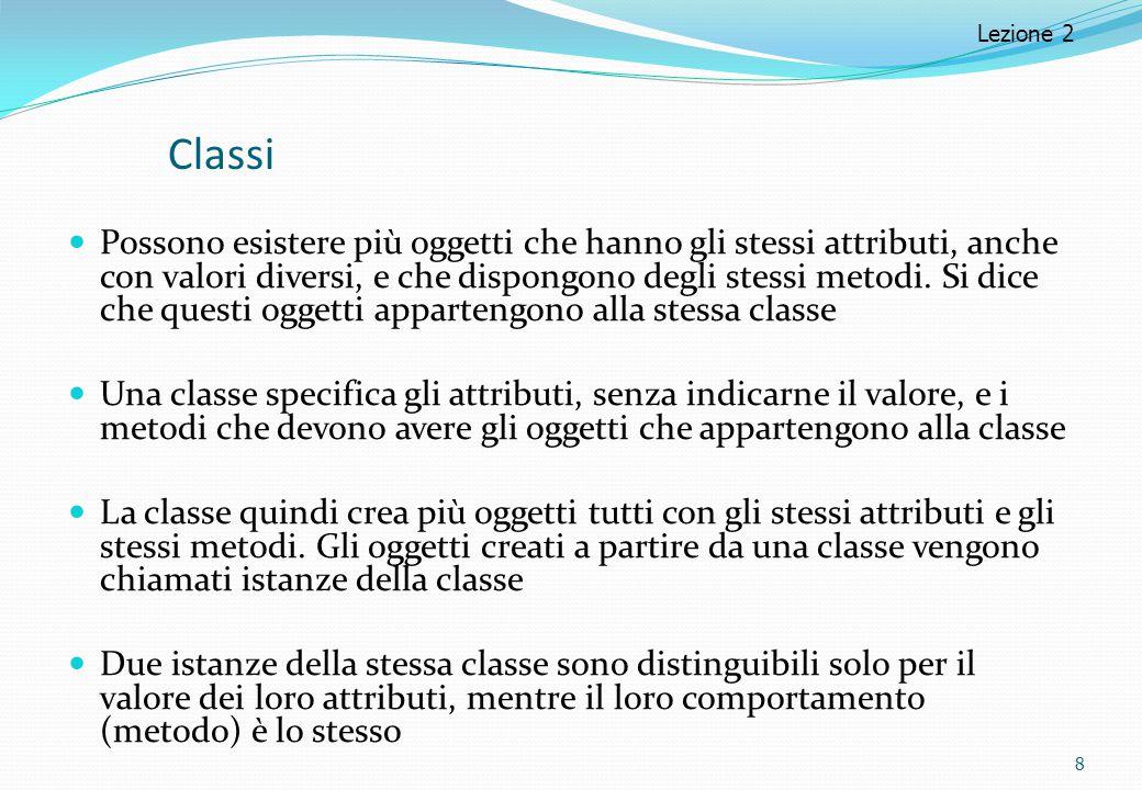 Classi Possono esistere più oggetti che hanno gli stessi attributi, anche con valori diversi, e che dispongono degli stessi metodi. Si dice che questi