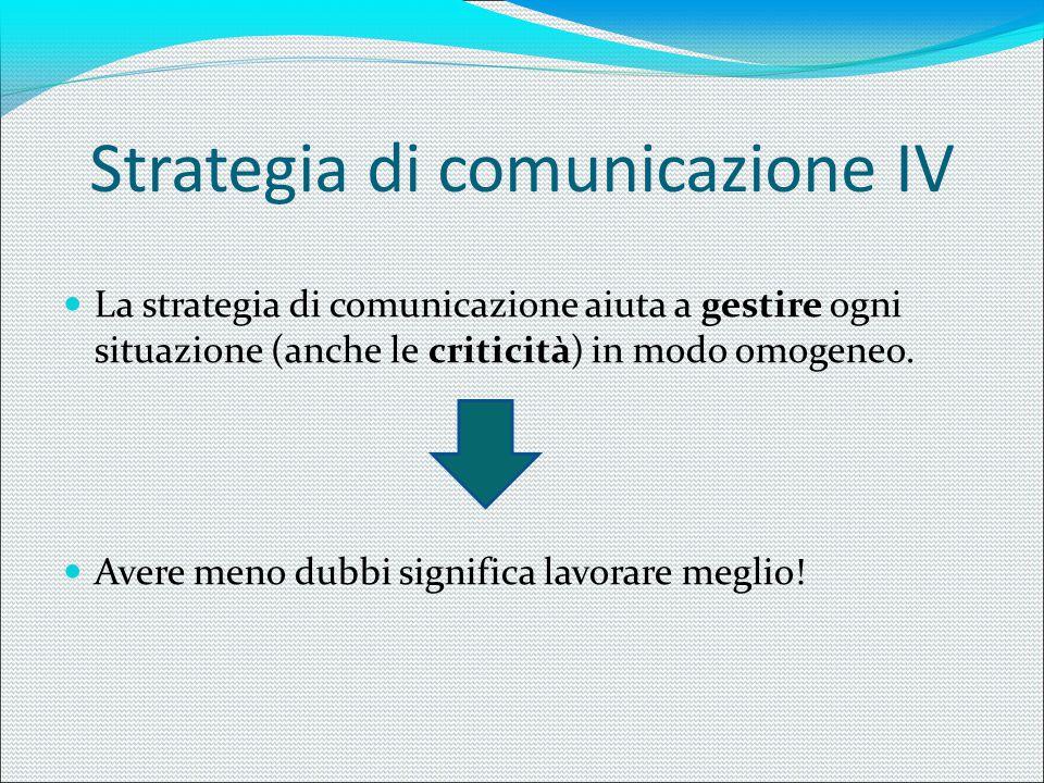 Strategia di comunicazione IV La strategia di comunicazione aiuta a gestire ogni situazione (anche le criticità) in modo omogeneo. Avere meno dubbi si