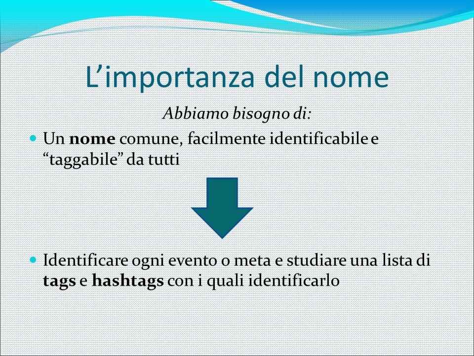 L'importanza del nome II Una lista ben definita di tags e hashtags è importante per questi principali motivi: