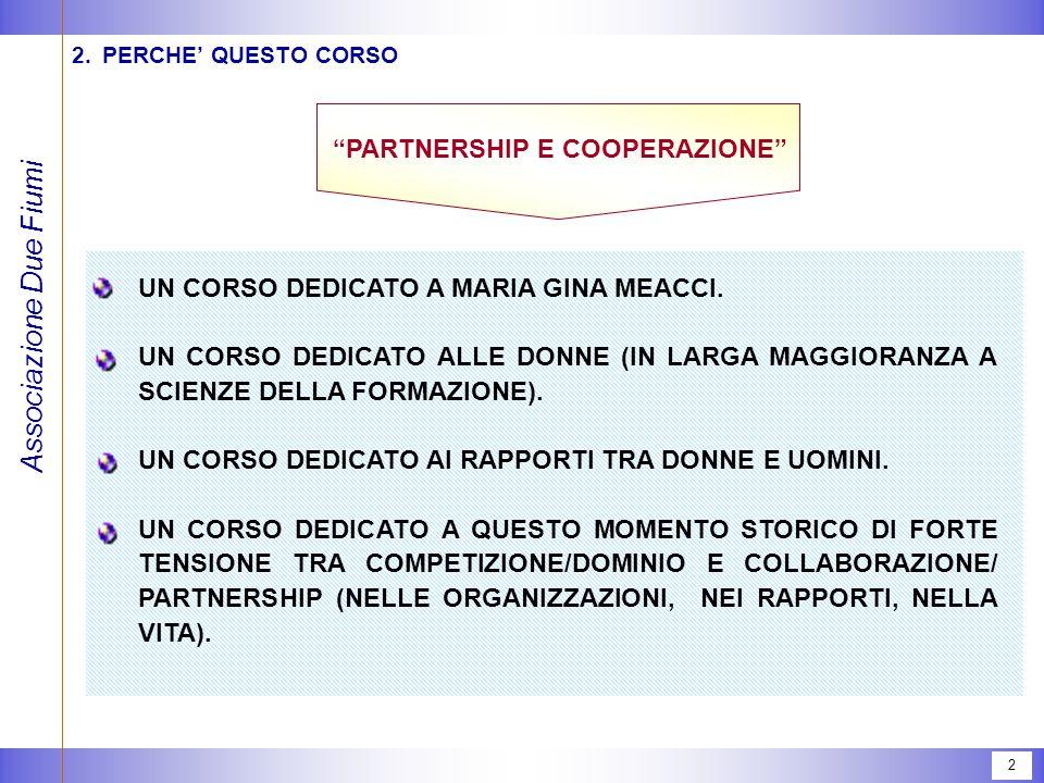 Associazione Due Fiumi 2 2.PERCHE' QUESTO CORSO PARTNERSHIP E COOPERAZIONE UN CORSO DEDICATO A MARIA GINA MEACCI.