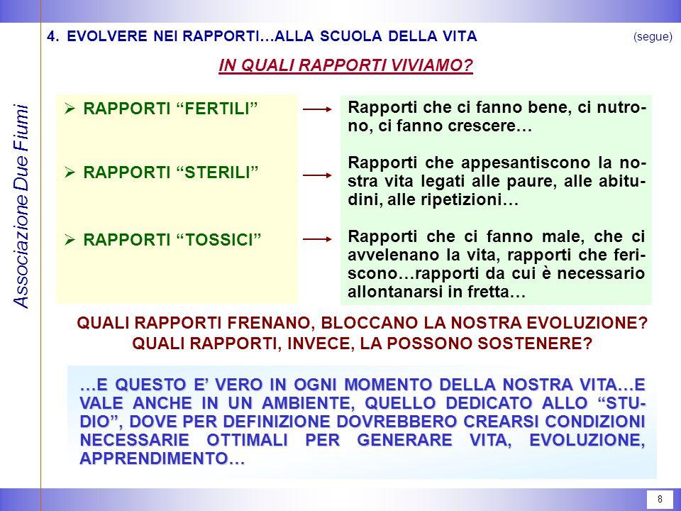 Associazione Due Fiumi 8 (segue) 4.EVOLVERE NEI RAPPORTI…ALLA SCUOLA DELLA VITA IN QUALI RAPPORTI VIVIAMO.