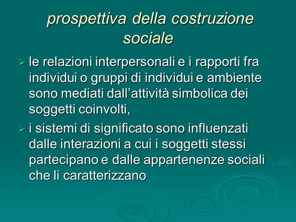 prospettiva della costruzione sociale prospettiva della costruzione sociale  le relazioni interpersonali e i rapporti fra individui o gruppi di indiv