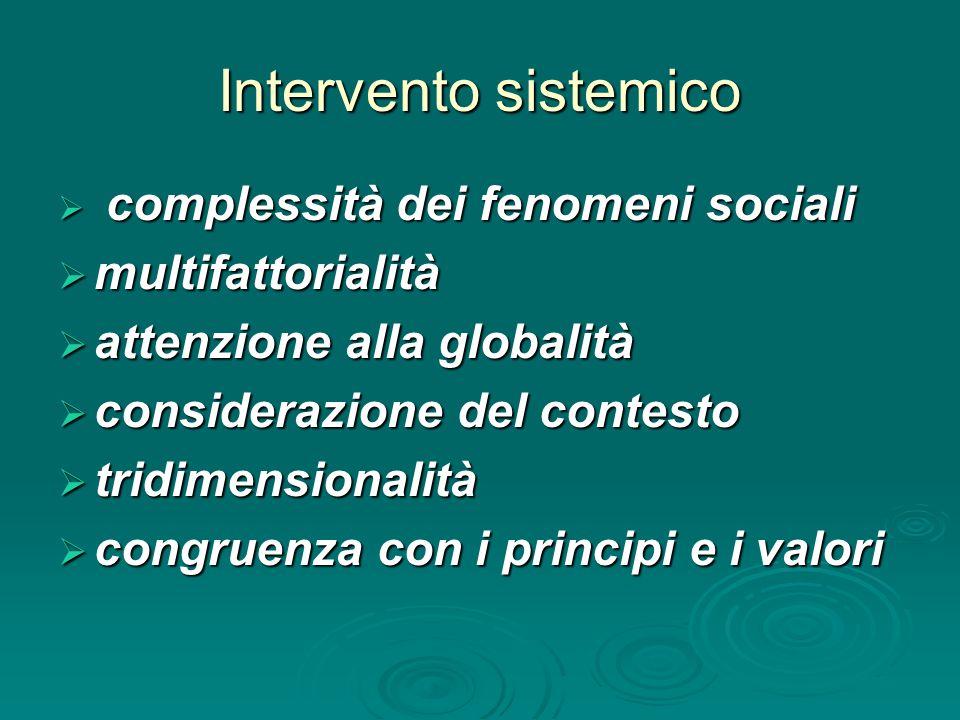 Intervento sistemico  complessità dei fenomeni sociali  multifattorialità  attenzione alla globalità  considerazione del contesto  tridimensional