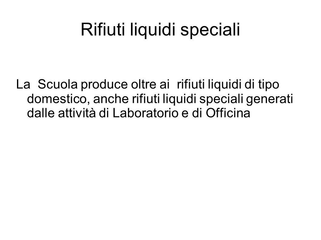 Rifiuti liquidi speciali La Scuola produce oltre ai rifiuti liquidi di tipo domestico, anche rifiuti liquidi speciali generati dalle attività di Laboratorio e di Officina
