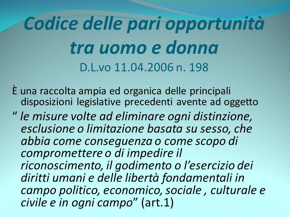 Codice delle pari opportunità tra uomo e donna D.L.vo 11.04.2006 n. 198 È una raccolta ampia ed organica delle principali disposizioni legislative pre