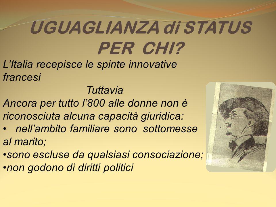 L'Italia recepisce le spinte innovative francesi Tuttavia Ancora per tutto l'800 alle donne non è riconosciuta alcuna capacità giuridica: nell'ambito