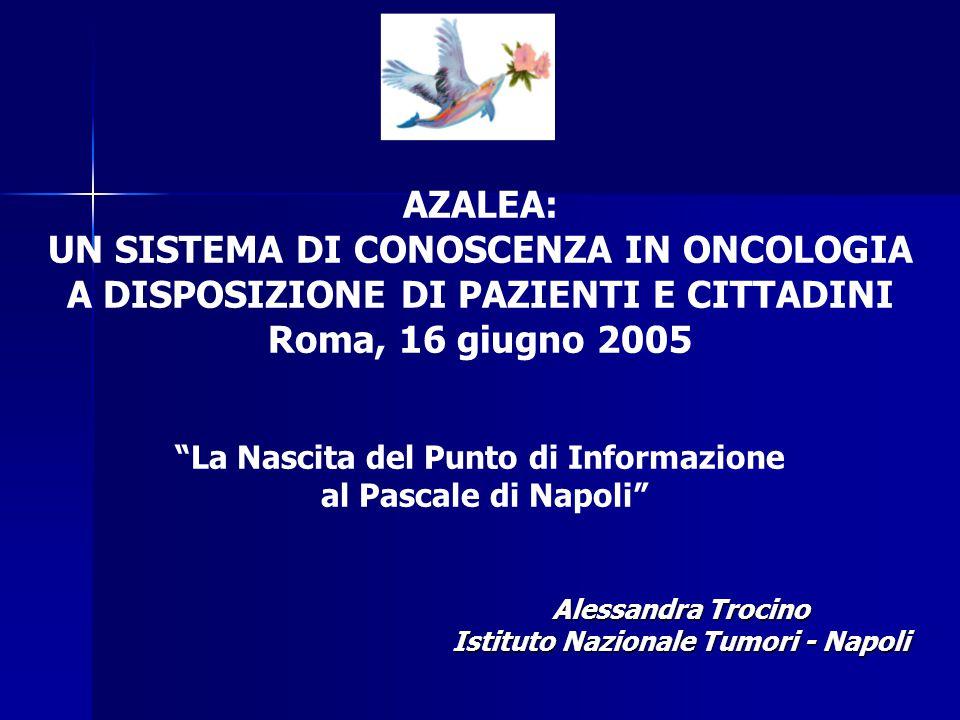 Alessandra Trocino Istituto Nazionale Tumori - Napoli AZALEA: UN SISTEMA DI CONOSCENZA IN ONCOLOGIA A DISPOSIZIONE DI PAZIENTI E CITTADINI Roma, 16 gi