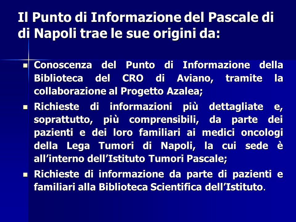 Il Punto di Informazione del Pascale di di Napoli trae le sue origini da: Conoscenza del Punto di Informazione della Biblioteca del CRO di Aviano, tra
