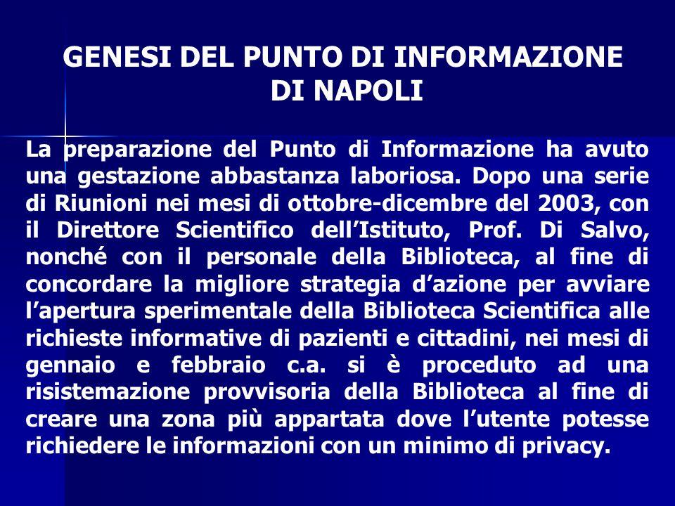 GENESI DEL PUNTO DI INFORMAZIONE DI NAPOLI La preparazione del Punto di Informazione ha avuto una gestazione abbastanza laboriosa. Dopo una serie di R