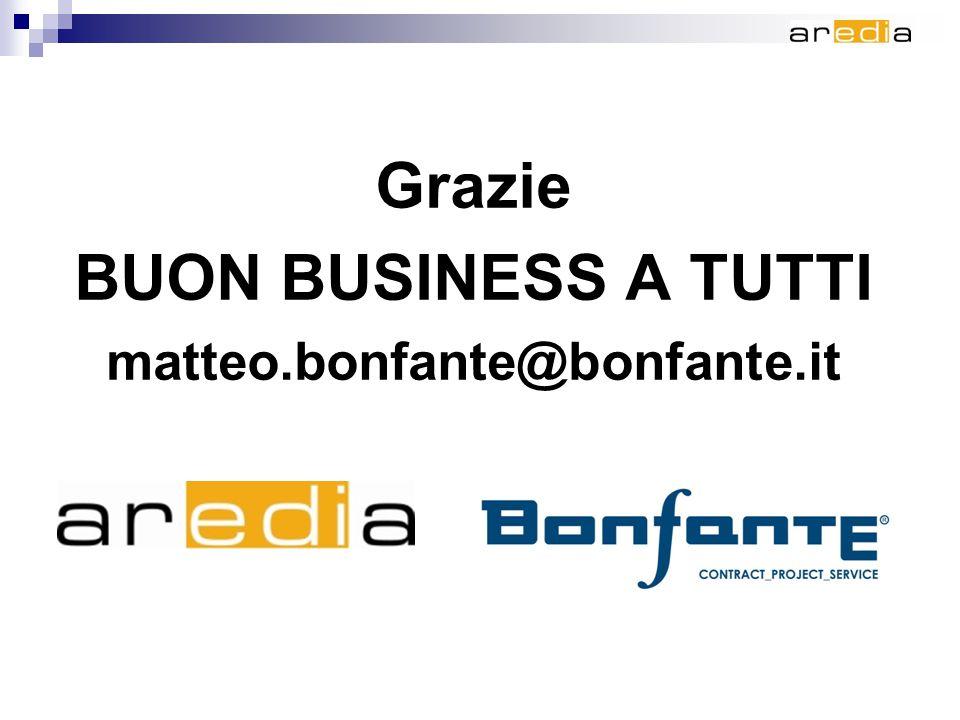 Grazie BUON BUSINESS A TUTTI matteo.bonfante@bonfante.it