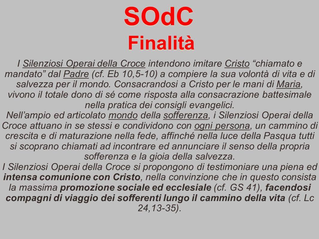 SOdC I Silenziosi Operai della Croce intendono imitare Cristo chiamato e mandato dal Padre (cf.