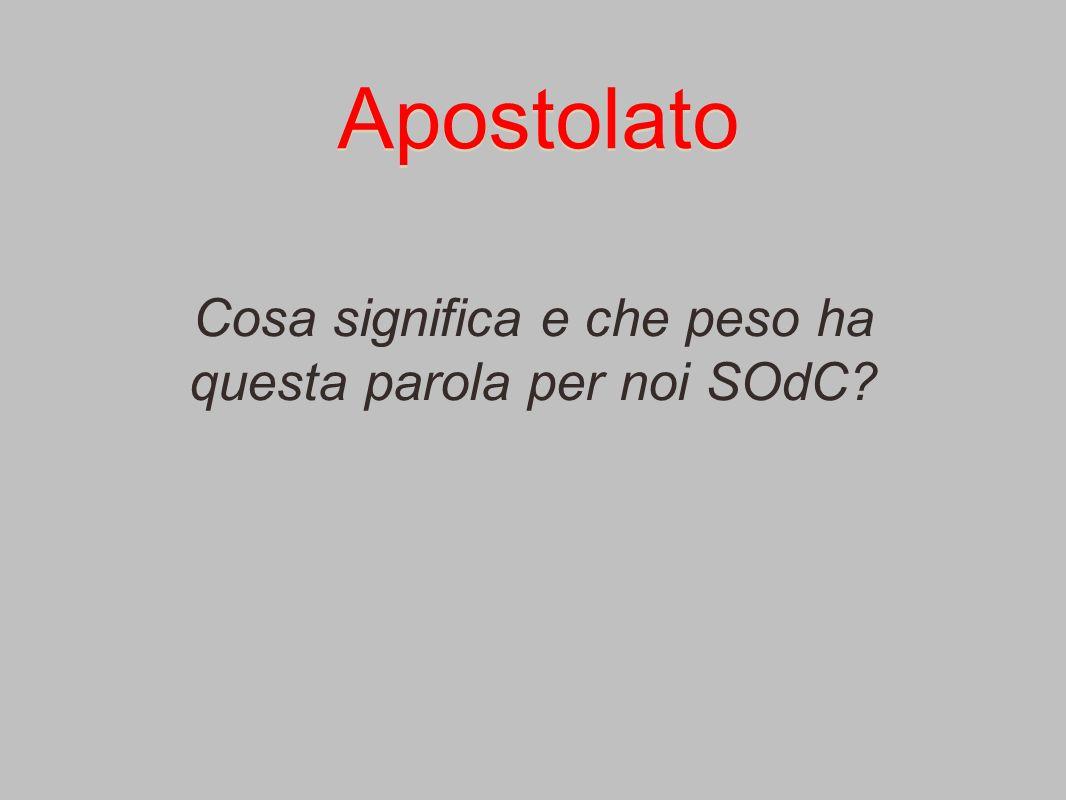 Apostolato Cosa significa e che peso ha questa parola per noi SOdC?