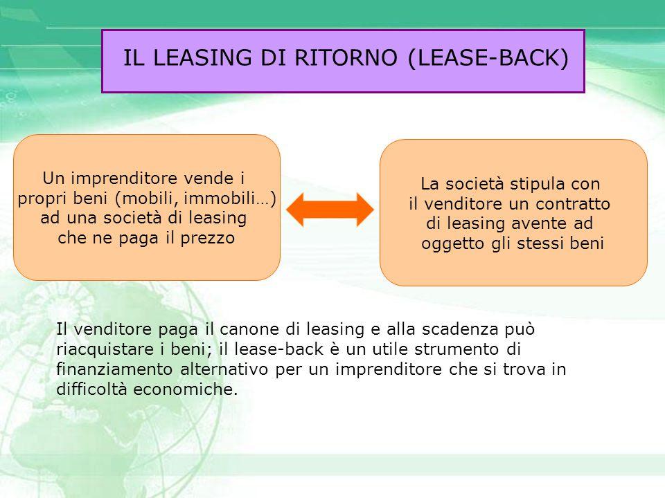IL LEASING DI RITORNO (LEASE-BACK) Il venditore paga il canone di leasing e alla scadenza può riacquistare i beni; il lease-back è un utile strumento