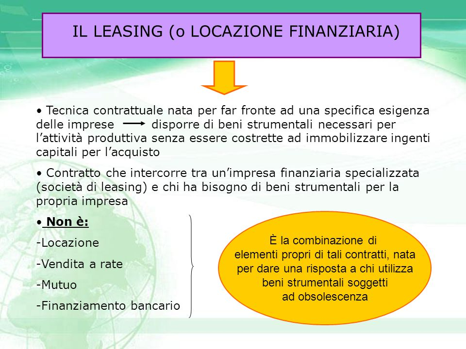 IL LEASING (o LOCAZIONE FINANZIARIA) Successo del leasing è legato anche alle agevolazioni fiscali di cui gode Il leasing può avere ad oggetto: beni strumentali di impresa, beni di consumo durevoli (automobili, elettrodomestici…), beni immobili (stabilimenti industriali, studi professionali…) E' possibile distinguere tre tipologie di leasing: 1) LEASING FINANZIARIO 2) LEASING OPERATIVO 3) LEASING DI RITORNO