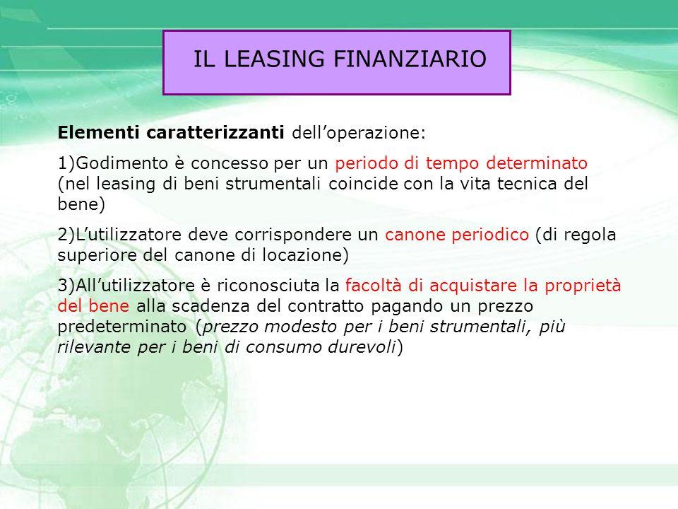 IL LEASING FINANZIARIO Elementi caratterizzanti dell'operazione: 1)Godimento è concesso per un periodo di tempo determinato (nel leasing di beni strum