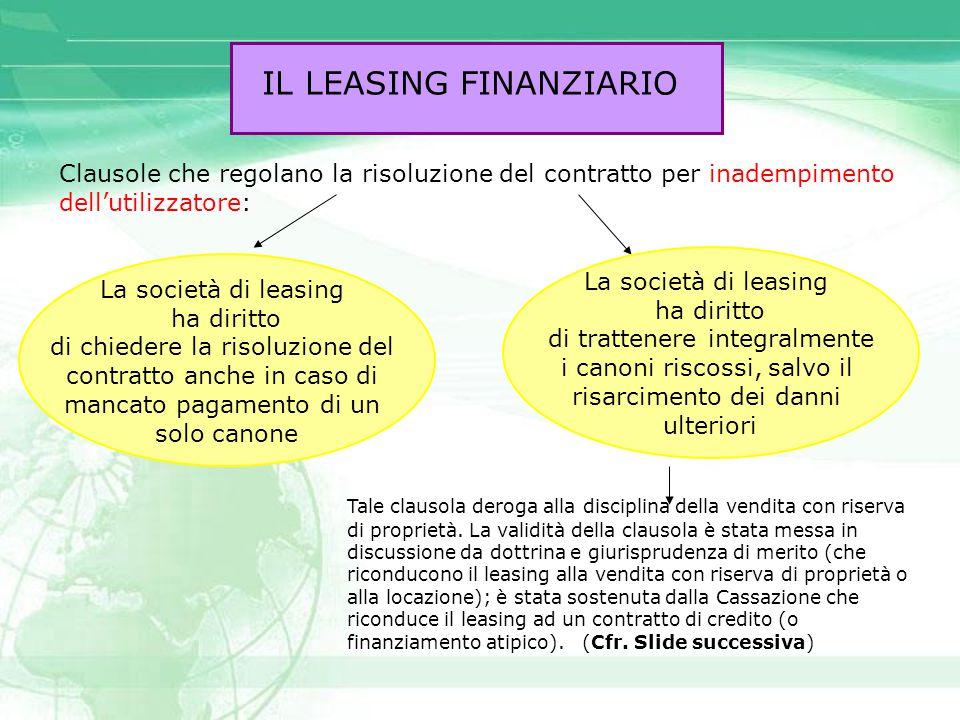 IL LEASING FINANZIARIO Clausole che regolano la risoluzione del contratto per inadempimento dell'utilizzatore: Tale clausola deroga alla disciplina de