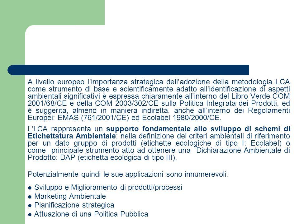A livello europeo l'importanza strategica dell'adozione della metodologia LCA come strumento di base e scientificamente adatto all'identificazione di aspetti ambientali significativi è espressa chiaramente all'interno del Libro Verde COM 2001/68/CE e della COM 2003/302/CE sulla Politica Integrata dei Prodotti, ed è suggerita, almeno in maniera indiretta, anche all'interno dei Regolamenti Europei: EMAS (761/2001/CE) ed Ecolabel 1980/2000/CE.
