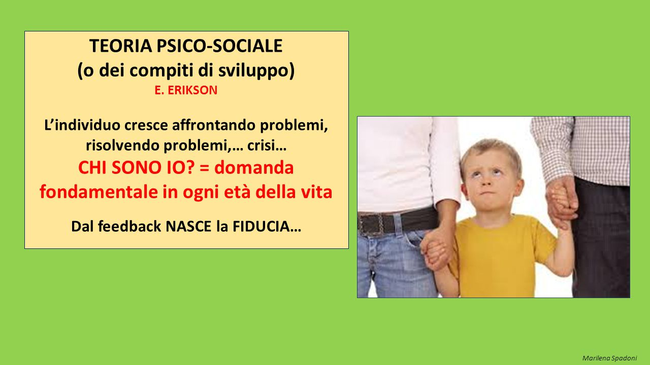 TEORIA PSICO-SOCIALE (o dei compiti di sviluppo) E. ERIKSON L'individuo cresce affrontando problemi, risolvendo problemi,… crisi… CHI SONO IO? = doman