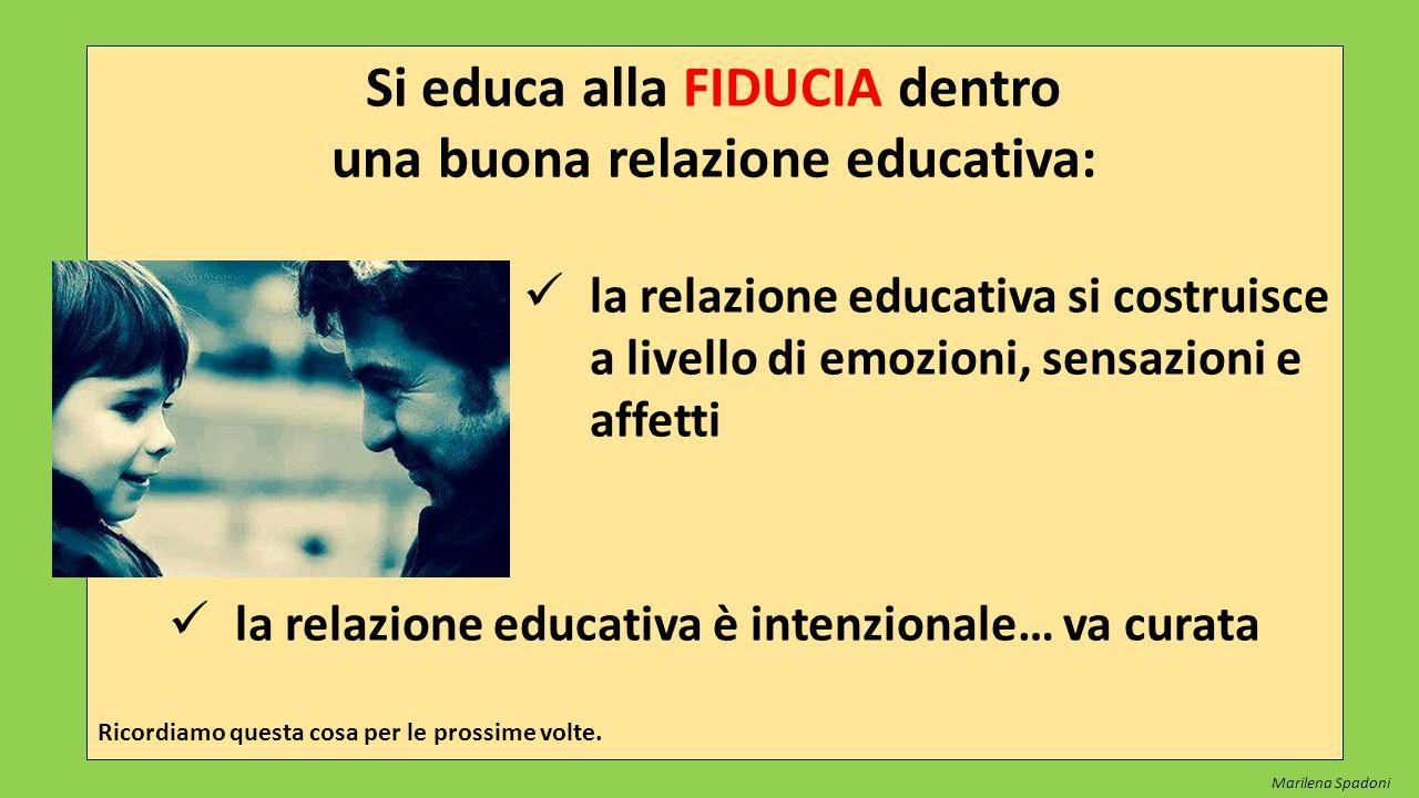 Si educa alla FIDUCIA dentro una buona relazione educativa: la relazione educativa si costruisce a livello di emozioni, sensazioni e affetti la relazi
