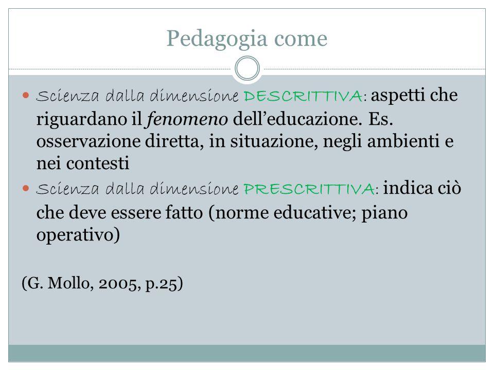 Pedagogia come Scienza dalla dimensione DESCRITTIVA: aspetti che riguardano il fenomeno dell'educazione. Es. osservazione diretta, in situazione, negl