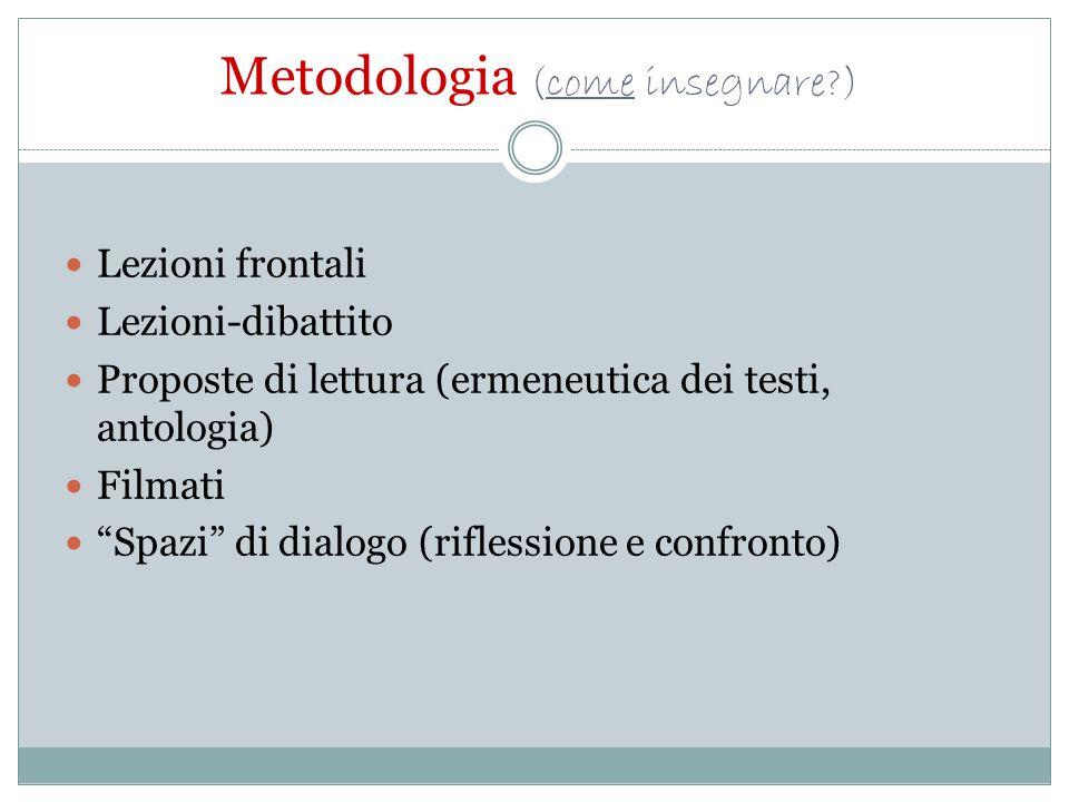 """Metodologia (come insegnare?) Lezioni frontali Lezioni-dibattito Proposte di lettura (ermeneutica dei testi, antologia) Filmati """"Spazi"""" di dialogo (ri"""