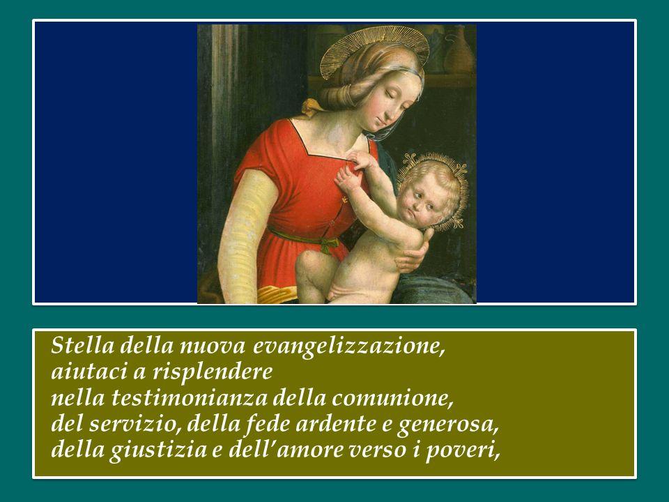 Tu, Vergine dell'ascolto e della contemplazione, madre dell'amore, sposa delle nozze eterne, intercedi per la Chiesa, della quale sei l'icona purissim