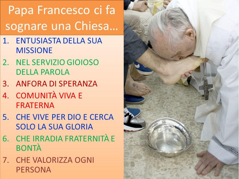 Papa Francesco ci fa sognare una Chiesa… 1.ENTUSIASTA DELLA SUA MISSIONE 2.NEL SERVIZIO GIOIOSO DELLA PAROLA 3.ANFORA DI SPERANZA 4.COMUNITÀ VIVA E FR