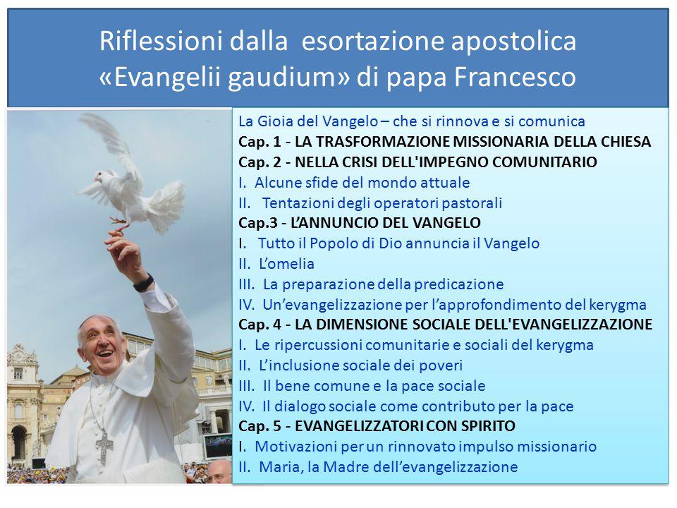 Riflessioni dalla esortazione apostolica «Evangelii gaudium» di papa Francesco La Gioia del Vangelo – che si rinnova e si comunica Cap. 1 - LA TRASFOR