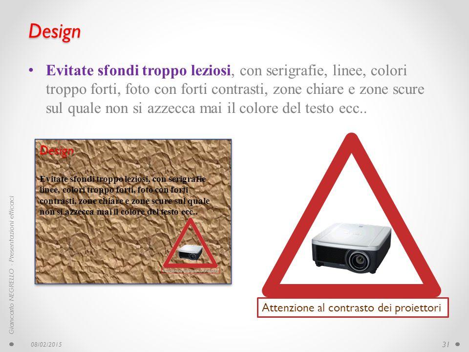 Design Evitate sfondi troppo leziosi, con serigrafie, linee, colori troppo forti, foto con forti contrasti, zone chiare e zone scure sul quale non si