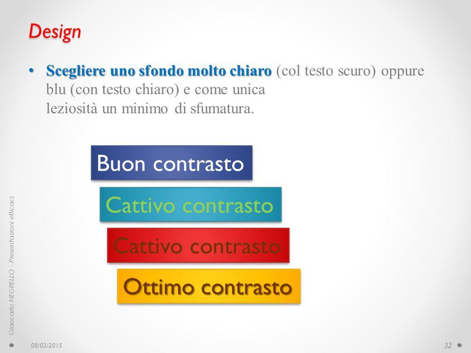 Design Scegliere uno sfondo molto chiaro Scegliere uno sfondo molto chiaro (col testo scuro) oppure blu (con testo chiaro) e come unica leziosità un m