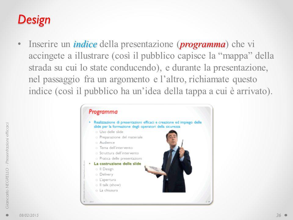 """Design indice programma Inserire un indice della presentazione (programma) che vi accingete a illustrare (così il pubblico capisce la """"mappa"""" della st"""