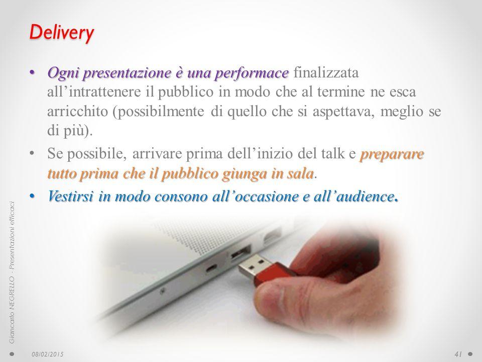 Delivery Ogni presentazione è una performace Ogni presentazione è una performace finalizzata all'intrattenere il pubblico in modo che al termine ne es