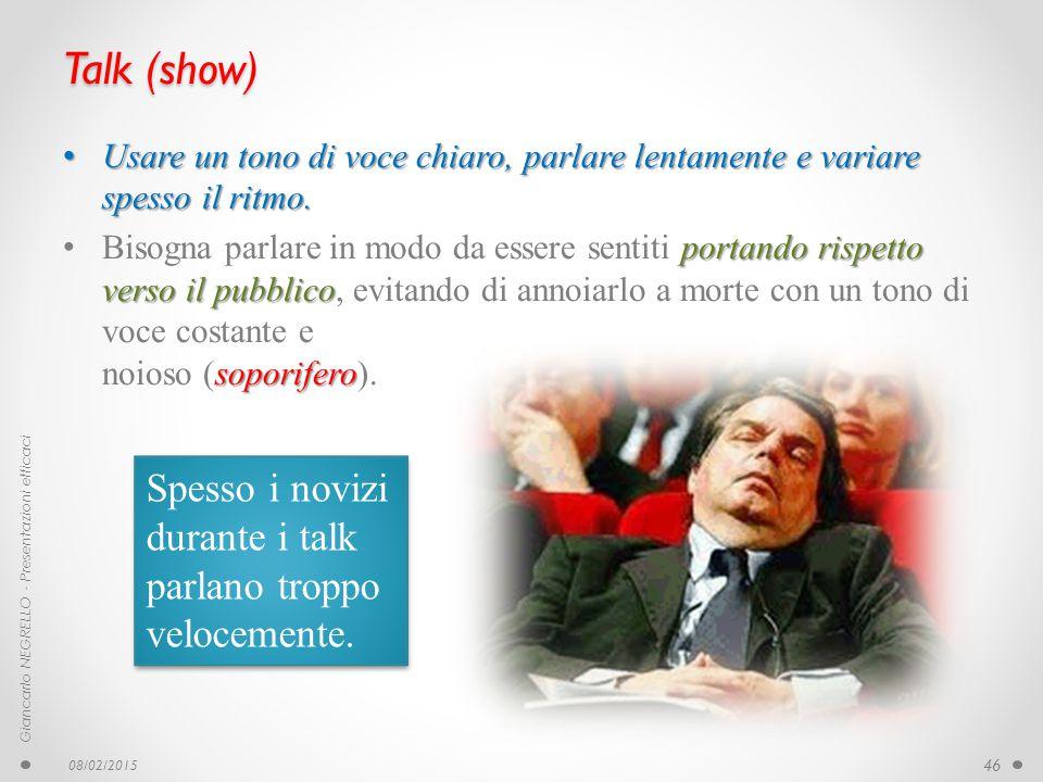 Talk (show) Usare un tono di voce chiaro, parlare lentamente e variare spesso il ritmo. Usare un tono di voce chiaro, parlare lentamente e variare spe