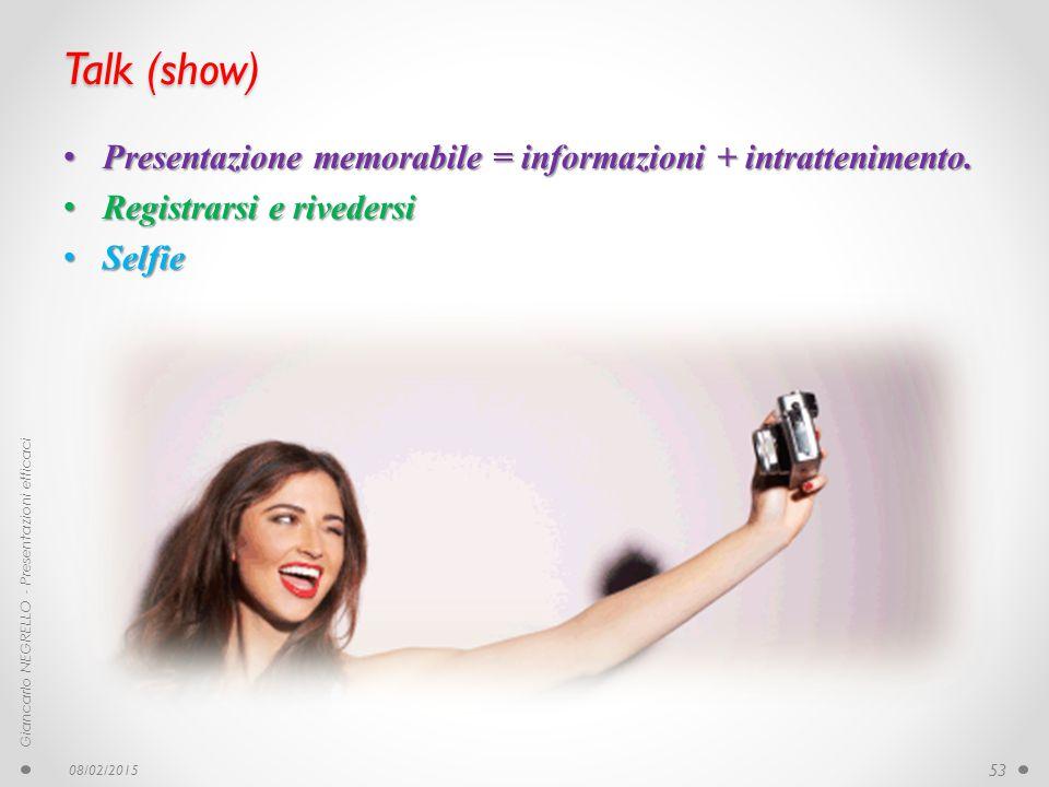 Talk (show) Presentazione memorabile = informazioni + intrattenimento. Presentazione memorabile = informazioni + intrattenimento. Registrarsi e rivede